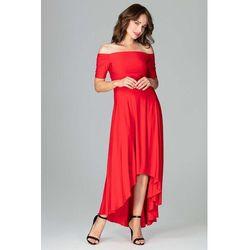 ecc56428c9 Czerwona Długa Asymetryczna Sukienka z Odkrytymi Ramionami