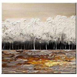 ręcznie malowany, grubo fakturowany obraz nowoczesny 80x80cm rabat 40%