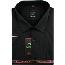 14db7dd066f74 Koszula Męska Laviino gładka czarna duże rozmiary na krótki rękaw K707,  kolor czarny