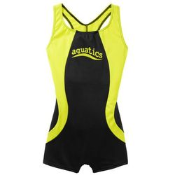 ad521137285a98 Kostium kąpielowy dziewczęcy czarno-żółty neonowy marki Bonprix