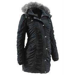 Zimowa kurtka ciążowa z kapturem, z regulacją obwodu bonprix czarny, kurtka