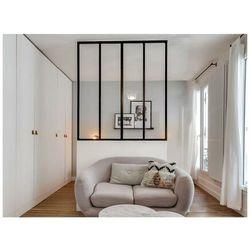 Przeszklona ścianka bayview z aluminium lakierowanego na czarno - 120x130 cm marki Vente-unique.pl