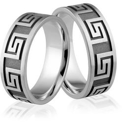 Obrączki srebrne z greckim wzorem - wzór Ag-318