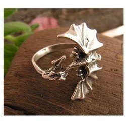 DRAGON - srebrny pierścionek srebrny smok, kolor szary