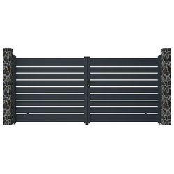 Brama wjazdowa rozwierna PRIMO, ażurowa, z aluminium w kolorze antracytowym – 392 × 176 cm (szer. × wys.)