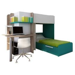Vente-unique.pl Łóżko piętrowe samuel – 2 × 90 × 190 cm – wbudowane biurko – kolor sosna biała i turkusowy