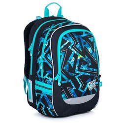 Topgal Plecak szkolny czarny z niebieskim wzorem coda 21020 b