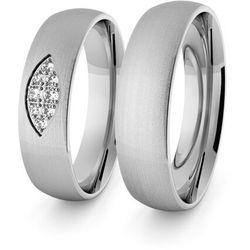 Obrączki ślubne klasyczne z białego złota niklowego 5 mm z brylantami - 90