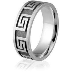 Obrączka srebrna męska z greckim wzorem - wzór Ag-318