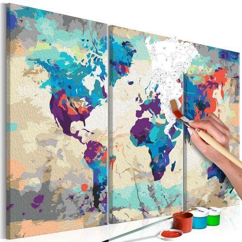 Artgeist Obraz do samodzielnego malowania - mapa świata (błękitno-czerwona) 3-częściowa