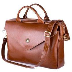 Skórzana torba aktówka damska na laptopa felice brązowa (5902650681033)