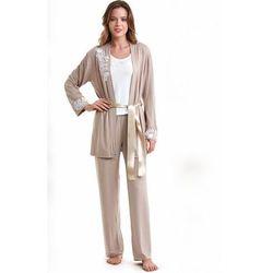 Damska bambusowa piżama carina ze szlafrokiem m beżowy marki Luisa moretti