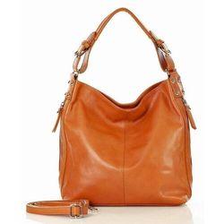 Elegancka torebka na ramię od marco mazzini - camel, kolor brązowy