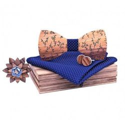 Drewniany komplet T05: muszka, spinki, poszetka i broszka (5907614690755)