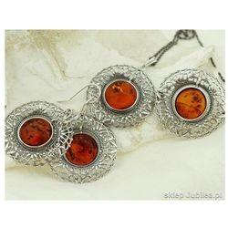 VENUS - srebrny komplet biżuterii z bursztynem, kolor pomarańczowy