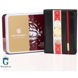 Peterson Pionowy portfel skórzany black&red 339.04